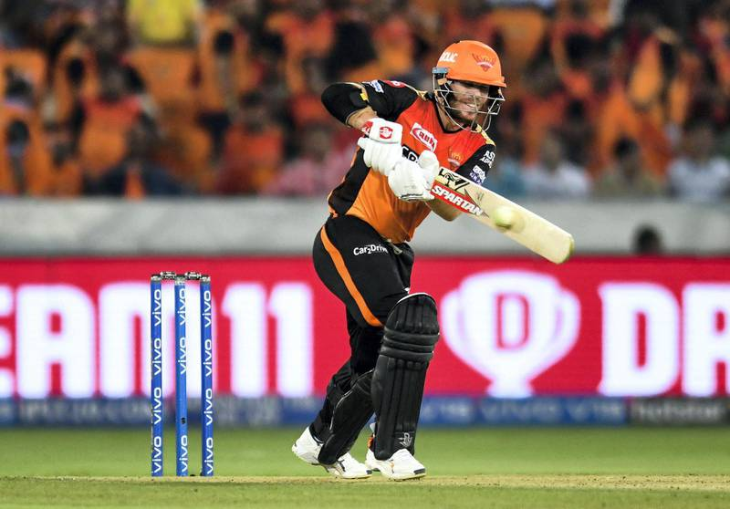 Sunrisers Hyderabad cricketers David Warner plays a shot during the 2019 Indian Premier League (IPL) Twenty20 cricket match between Sunrisers Hyderabad and Kings XI Punjab at the Rajiv Gandhi International Cricket Stadium in Hyderabad on April 29, 2019. (Photo by NOAH SEELAM / AFP) / ----IMAGE RESTRICTED TO EDITORIAL USE - STRICTLY NO COMMERCIAL USE-----