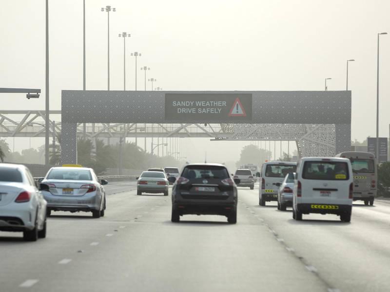 Abu Dhabi, United Arab Emirates, October 7, 2019.  Sandy weather warning at Al Raha area.Victor Besa / The NationalSection:  NAReporter: