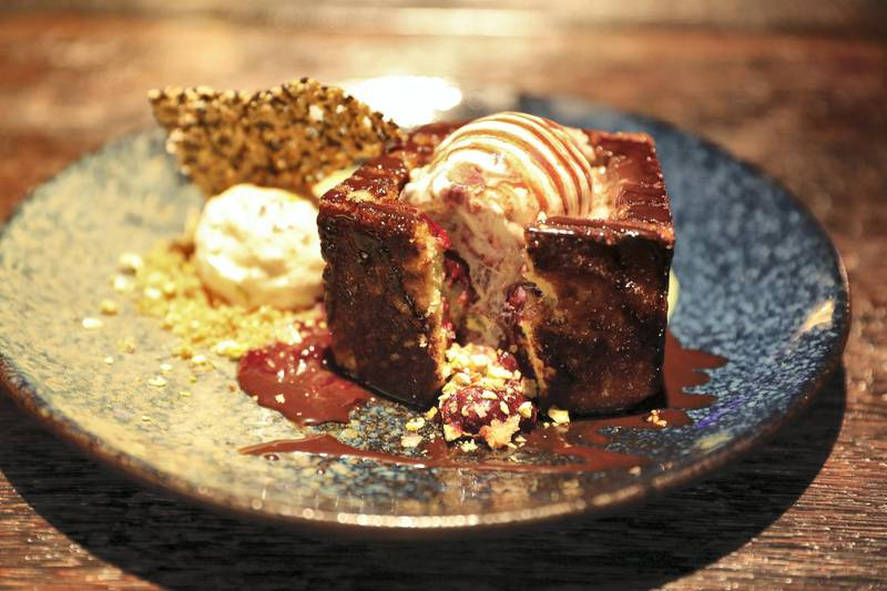 DUBAI, UNITED ARAB EMIRATES , September 27 – 2020 :- Shibuya honey toast dish at the Brass Monkey, new dining and entertainment destination on the Bluewaters Island in Dubai.  (Pawan Singh / The National) For Lifestyle/Online/Instagram. Story by Janice Rodrigues