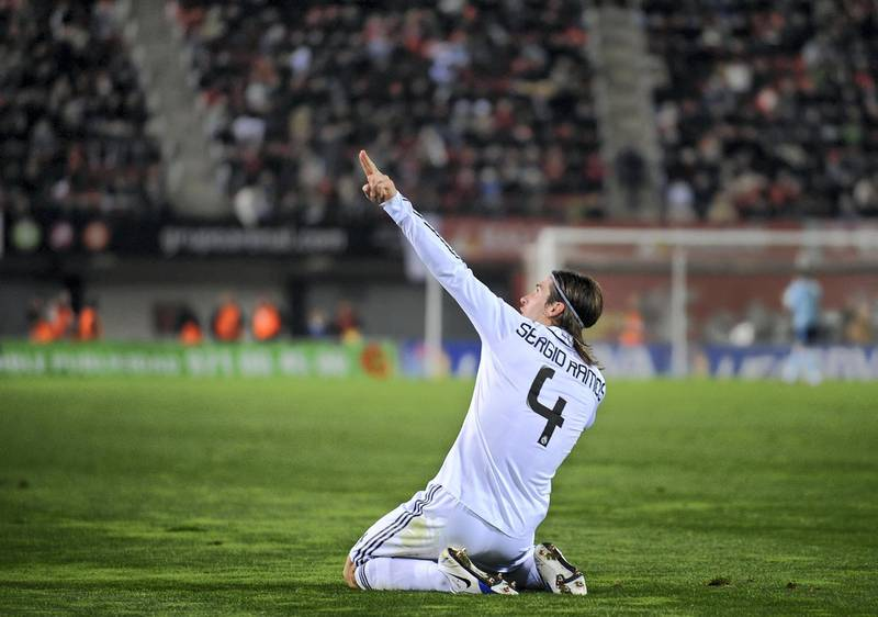 PALMA, SPAIN - JANUARY 11:  Sergio Ramos of Real Madrid celebrates after scoring Real's third goal during the La Liga match betwen Mallorca and Real Madrid at the San Moix stadium on January 11, 2009 in Palma, Spain.  (Photo by Denis Doyle/Getty Images)