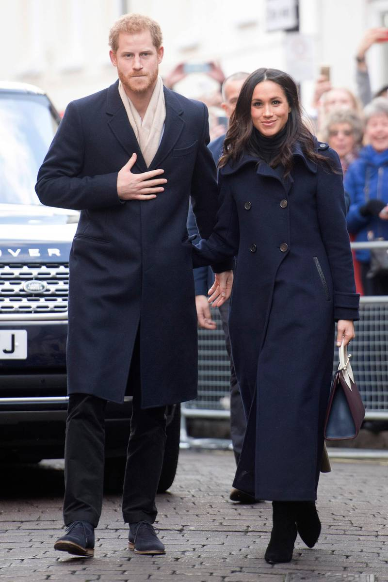 NOTTINGHAM, ENGLAND - DECEMBER 01:  Prince Harry and his fiancee, US actress Meghan Markle, visit Nottingham for their first official public engagement together  on December 1, 2017 in Nottingham, England.  Prince Harry and Meghan Markle announced their engagement on Monday 27th November 2017 and will marry at St George's Chapel, Windsor in May 2018.  (Photo by Jeremy Selwyn - WPA Pool/Getty Images)