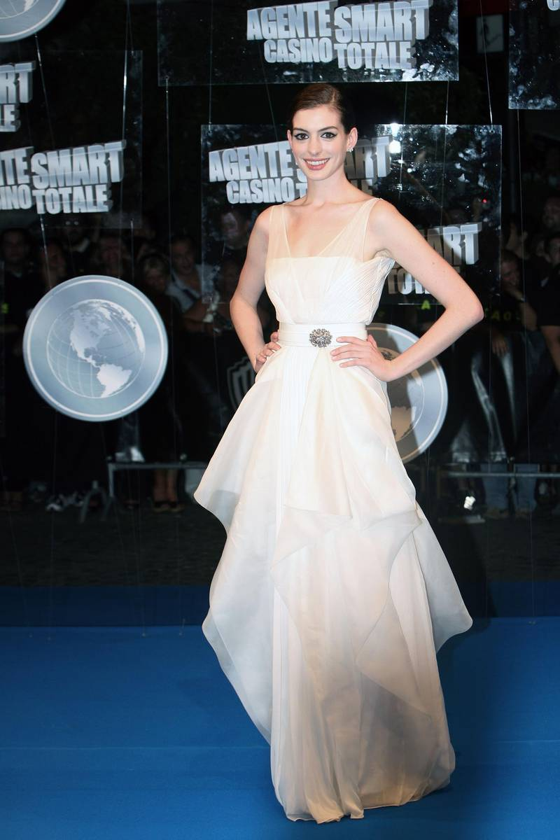 ROME - JULY 07:  Actress Anne Hathaway attends the 'Get Smart' premiere at Warner Moderno Cinema on July 7, 2008 in Rome, Italy.  (Photo by Franco Origlia/Getty Images)
