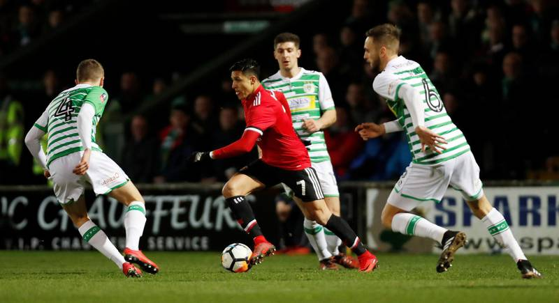 Soccer Football - FA Cup Fourth Round - Yeovil Town vs Manchester United - Huish Park, Yeovil, Britain - January 26, 2018   Manchester United's Alexis Sanchez in action with Yeovil Town's Lewis Wing and Jared Bird     Action Images via Reuters/Paul Childs
