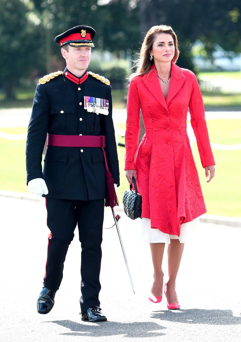CAMBERLEY, ENGLAND - AUGUST 11: Queen Rania of Jordan (R) attends the Sovereign's Parade at the Royal Military Academy Sandhurst on August 11, 2017 in Camberley, England.  (Photo by Eamonn M. McCormack/Getty Images)