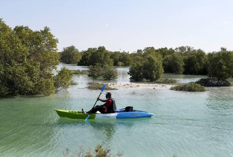 Abu Dhabi, United Arab Emirates - Landscape views on the way to Pure Eco Retreat nestled in the heart of mangroves, on Jubail Island. Khushnum Bhandari for The National