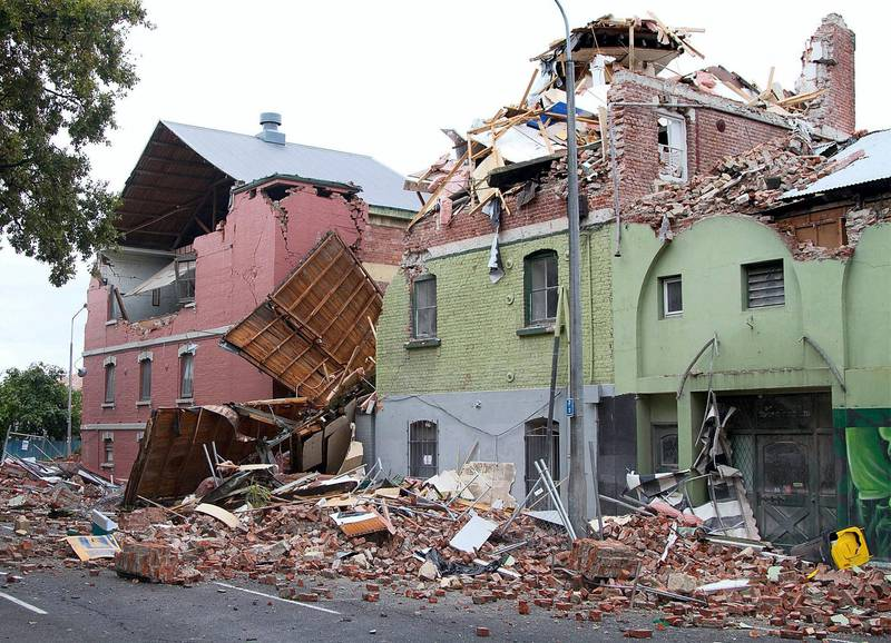 Badly damaged structures along Fitzgerald Avenue surrounded in rubble in Christchurch on February 23, 2011, a day after the city was rocked by a 6.3 magnitude earthquake. AFP