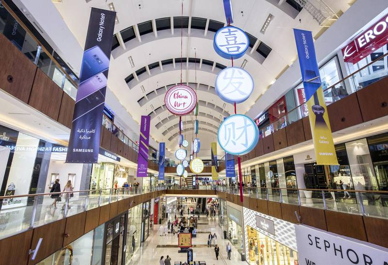 DUBAI, UNITED ARAB EMIRATES -Chinese decorations all over Dubai Mall to celebrate the coming Chinese new year at the Dubai Mall.  Leslie Pableo for The National
