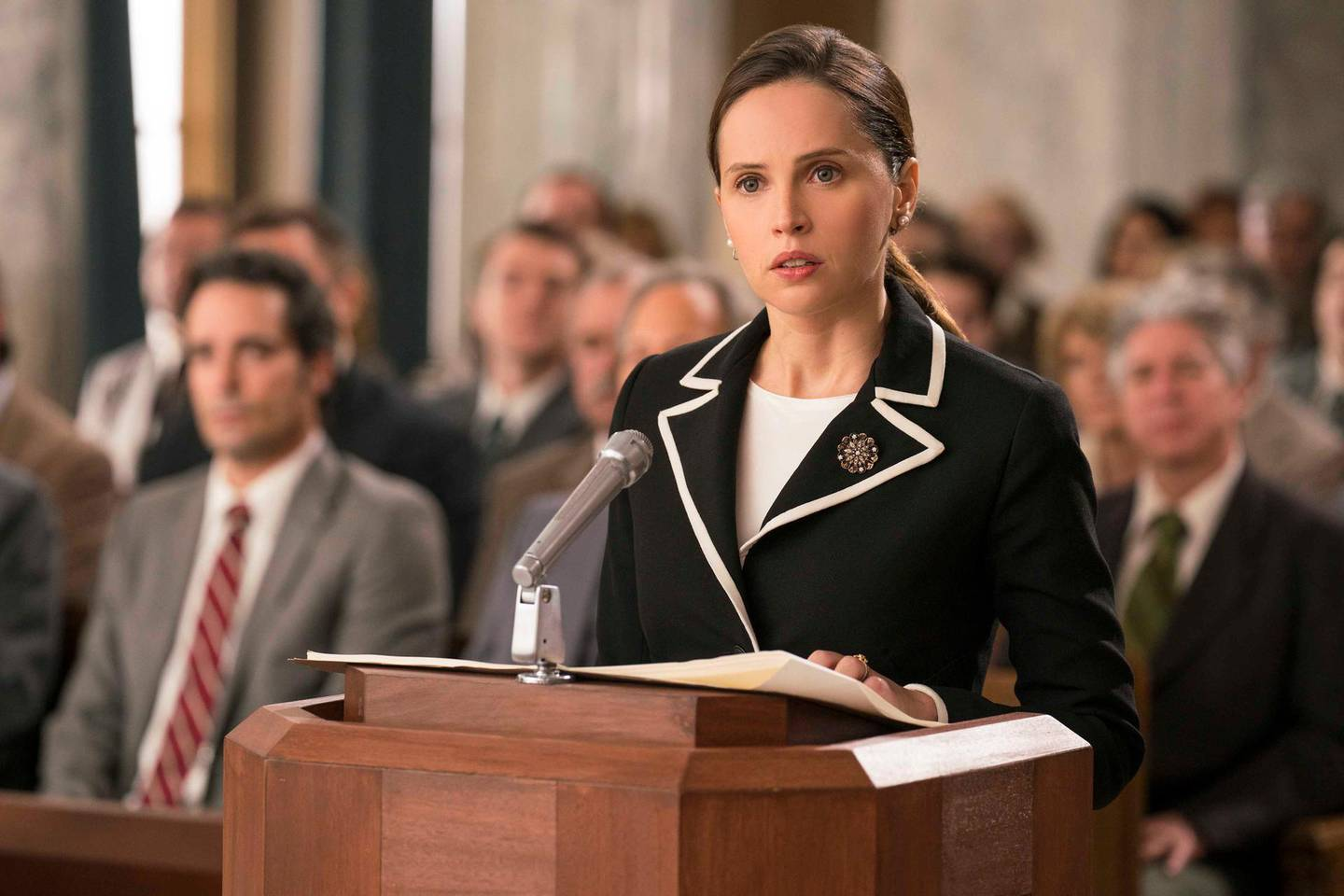 Felicity Jones stars as Ruth Bader Ginsburg in ON THE BASIS. Courtesy Focus Features