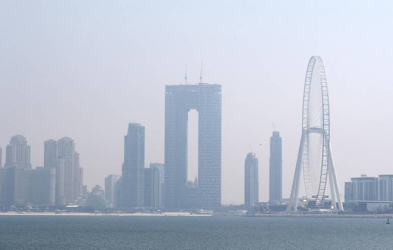 DUBAI, UNITED ARAB EMIRATES , April 17– 2020 :- View of the Ain Dubai during the hazy weather in Dubai.  (Pawan Singh / The National) For News/Online/Instagram