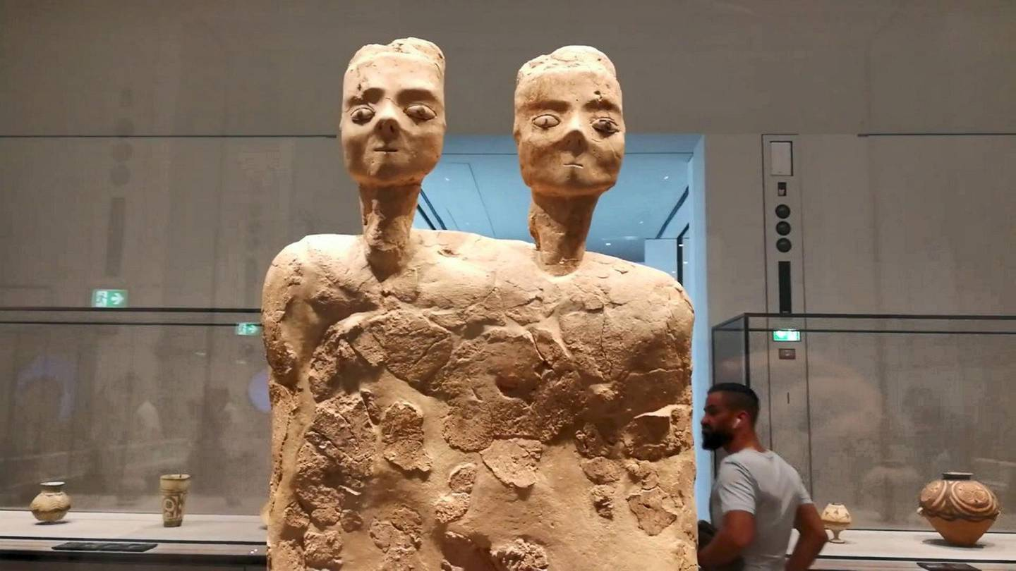 Ain Ghazal Jordan; Neolithic statue dating from 8000-6000BC from Ain Ghazal. Neolithic game board comes from the exact same site as one of the AD Louvre museum's star exhibits.