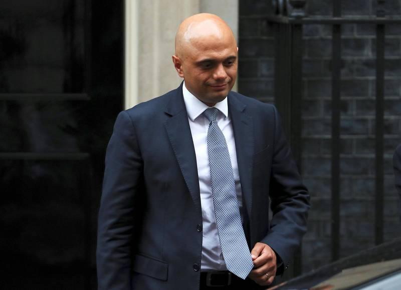 Britain's Home Secretary Sajid Javid leaves a Brexit subcommittee meeting at Downing Street in London, Britain, May 2, 2018. REUTERS/Hannah McKay