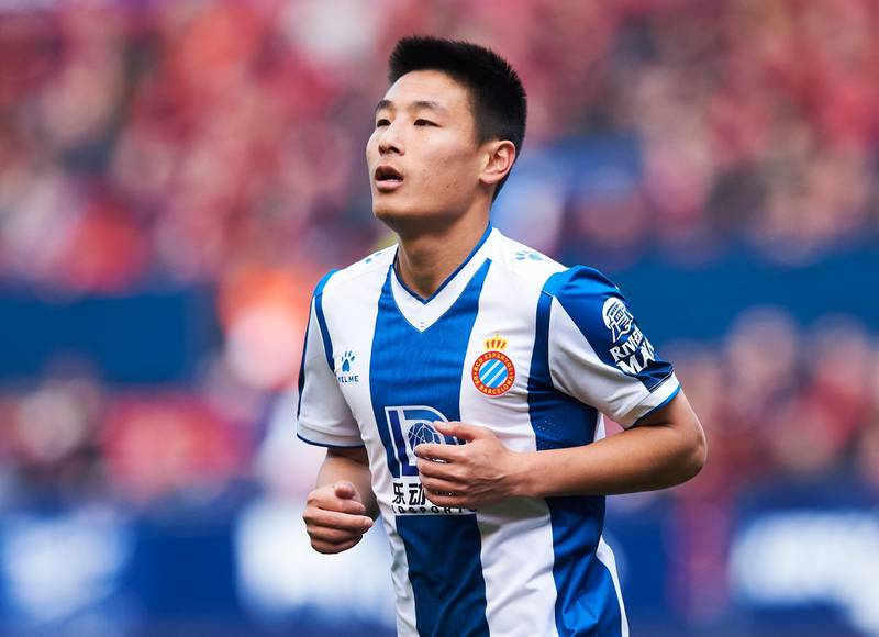 PAMPLONA, SPAIN - MARCH 08: Wu Lei of RCD Espanyol reacts  during the Liga match between CA Osasuna and RCD Espanyol at El Sadar Stadium on March 08, 2020 in Pamplona, Spain. (Photo by Juan Manuel Serrano Arce/Getty Images)