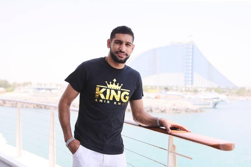 Dubai , UNITED ARAB EMIRATES. July 28, 2015  - English professional boxer Amir Khan is photographed at 360 Lounge at the Jumeirah Beach Hotel in Dubai, July 28, 2015. (Photo by: Sarah Dea/The National, Story by: Omar Al Raisi, Sport) *** Local Caption ***  SDEA280715-amirkhan20.JPG