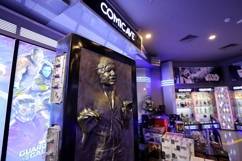 Dubai, United Arab Emirates - May 26, 2019: Photo Project. Replica of Han Solo encased in carbonite from Star Wars. Comicave is the WorldÕs largest pop culture superstore involved in the retail and distribution of high-end collectibles, pop-culture merchandise, apparels, novelty items, and likes. Thursday the 30th of May 2019. Dubai Outlet Mall, Dubai. Chris Whiteoak / The National