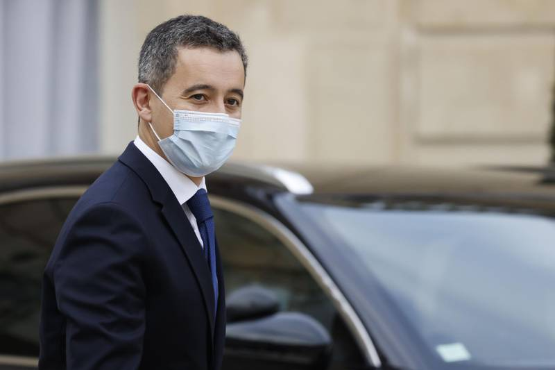 French Interior Minister Gerald Darmanin leaves after the weekly cabinet meeting at The Elysee Presidential Palace in Paris on December 2, 2020. / AFP / Thomas COEX