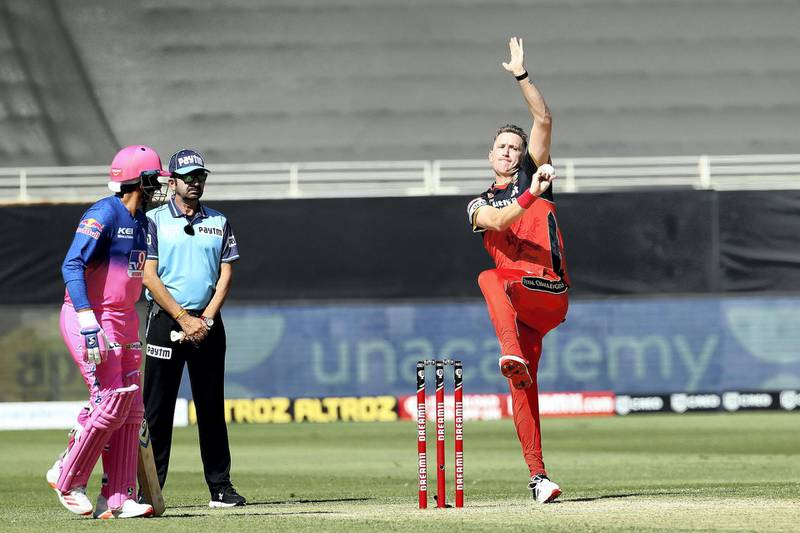 Chris Morris of Royal Challengers Bangalore during match 33 of season 13 of the Dream 11 Indian Premier League (IPL) between the Rajasthan Royals and the Royal Challengers Bangalore held at the Dubai International Cricket Stadium, Dubai in the United Arab Emirates on the 17th October 2020.  Photo by: Ron Gaunt  / Sportzpics for BCCI
