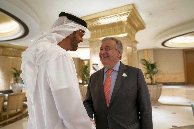 ABU DHABI, UNITED ARAB EMIRATES - June 30, 2019: HH Sheikh Mohamed bin Zayed Al Nahyan, Crown Prince of Abu Dhabi and Deputy Supreme Commander of the UAE Armed Forces (L) meets with HE Antonio Guterres, Secretary-General of the United Nations (R), at Emirates Palace.  ( Mohamed Al Hammadi / Ministry of Presidential Affairs ) ---