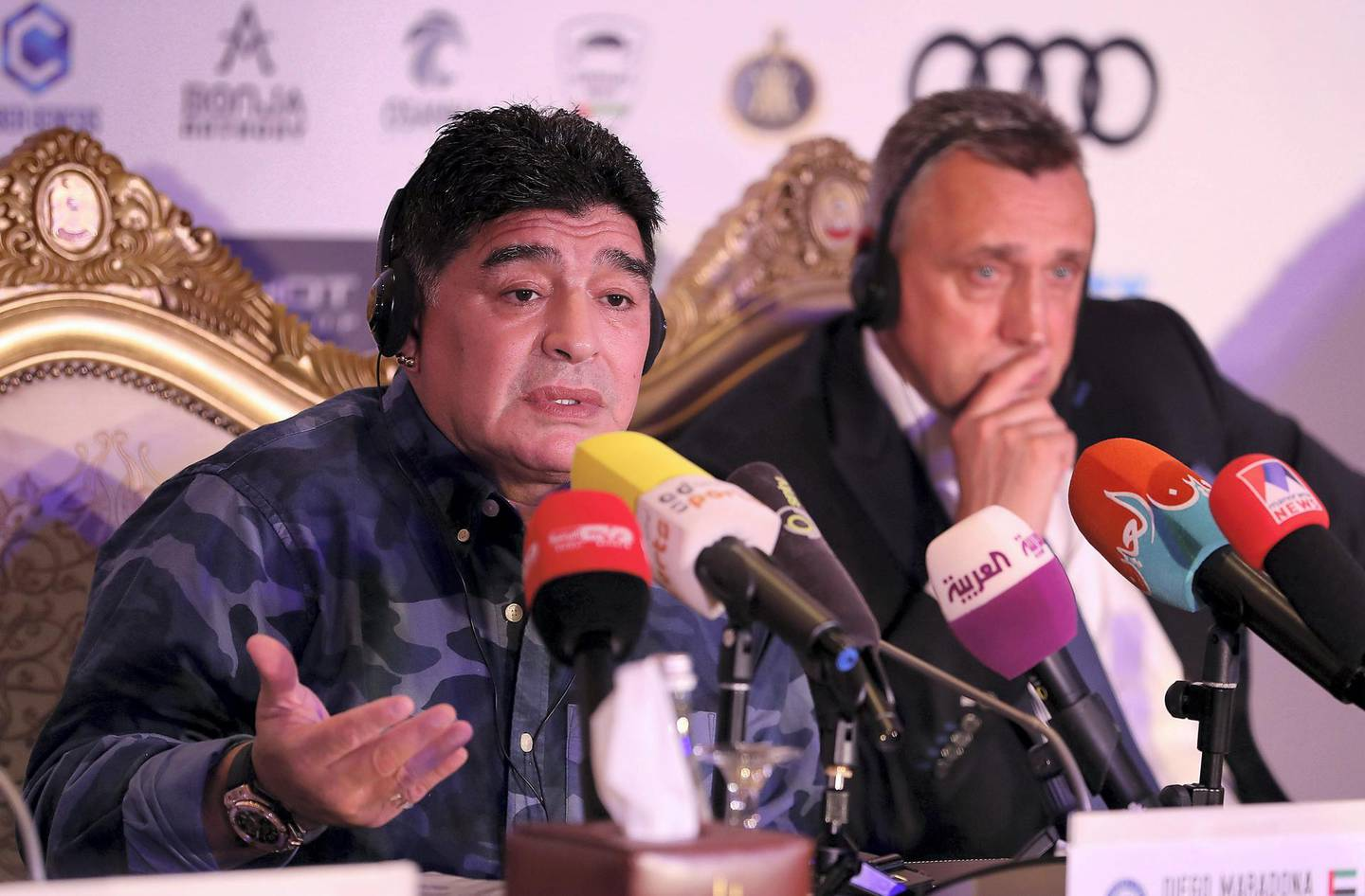 ABU DHABI , UNITED ARAB EMIRATES , MAY 22 – 2018 :- Diego Maradona , Chairman of FC Dynamo Brest ( left ) and Valdas Ivanauskas , Vice Chairman of FC Dynamo Brest ( right ) during the press conference held at Emirates Palace hotel in Abu Dhabi.  ( Pawan Singh / The National )  For Sports. Story by John