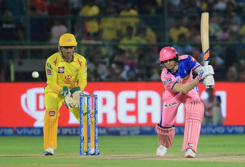 Rajasthan Royals' Steve Smith bats during the VIVO IPL T20 cricket match between Rajasthan Royals and Chennai Super Kings in Jaipur, India, Thursday, April 11, 2019. (AP Photo/Vishal Bhatnagar)