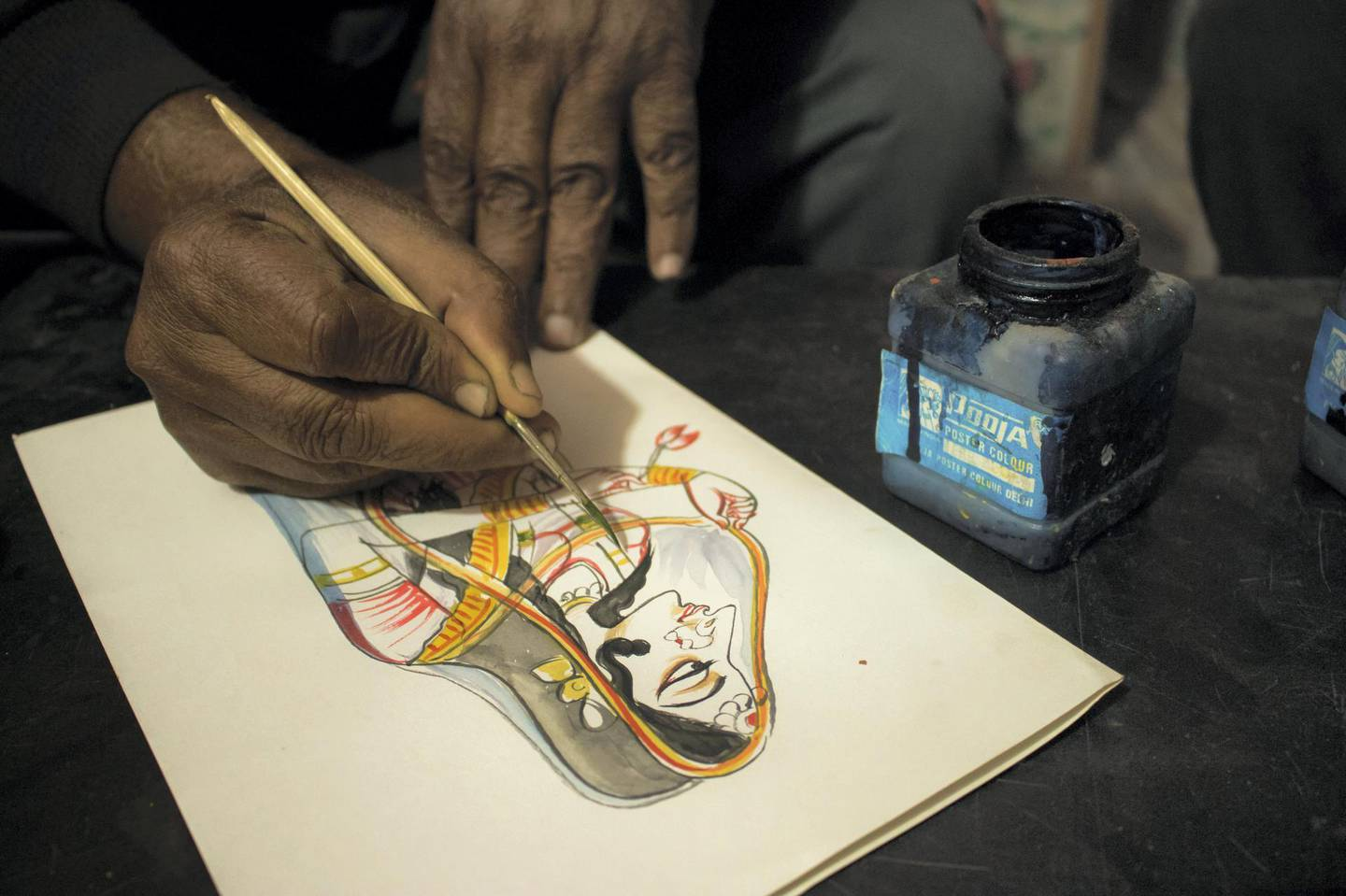 Anil Vyas, who has made over 10,000 Bani Thani paintings and mastered the art, doesn't use a pencil and eraser while sketching. Courtesy: Sanket Jain