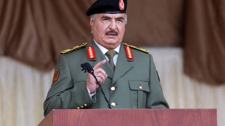 An image that illustrates this article Libya's Haftar steps down from military role to run for president