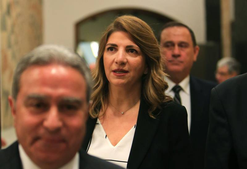 Minister of Justice Marie Claude Najm arrives for the inaugural cabinet meeting at the presidential palace in Baabda east of capital Beirut on January 22, 2020. (Photo by - / AFP)