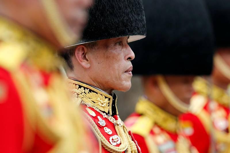 Thailand's King Maha Vajiralongkorn takes a part in the royal cremation procession of late King Bhumibol Adulyadej at the Grand Palace in Bangkok, Thailand, October 26, 2017. REUTERS/Jorge Silva