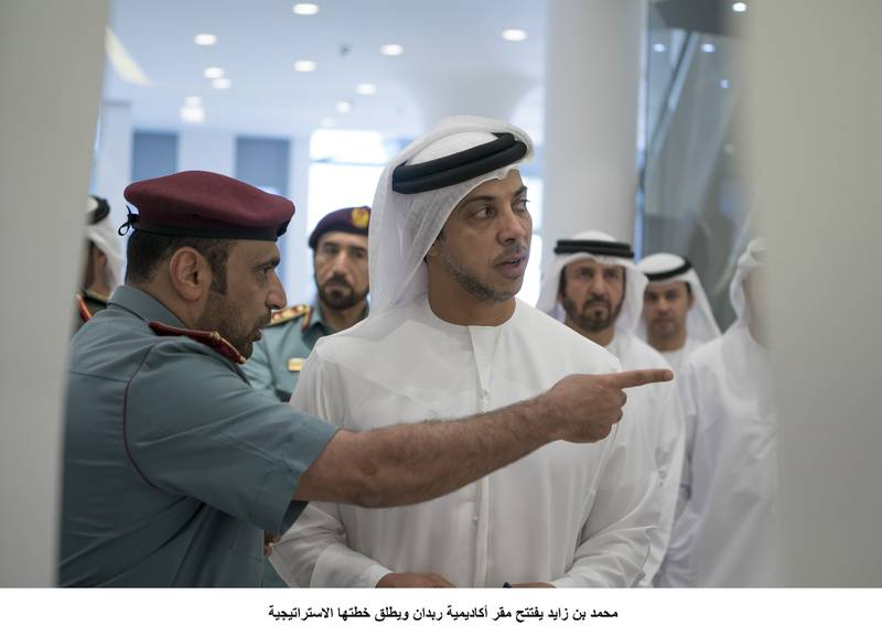 ABU DHABI, UNITED ARAB EMIRATES - September 20, 2017: HH Sheikh Mansour bin Zayed Al Nahyan, UAE Deputy Prime Minister and Minister of Presidential Affairs (C), tours the Rabdan Academy during the inauguration.  ( Mohamed Al Hammadi / Crown Prince Court - Abu Dhabi )---