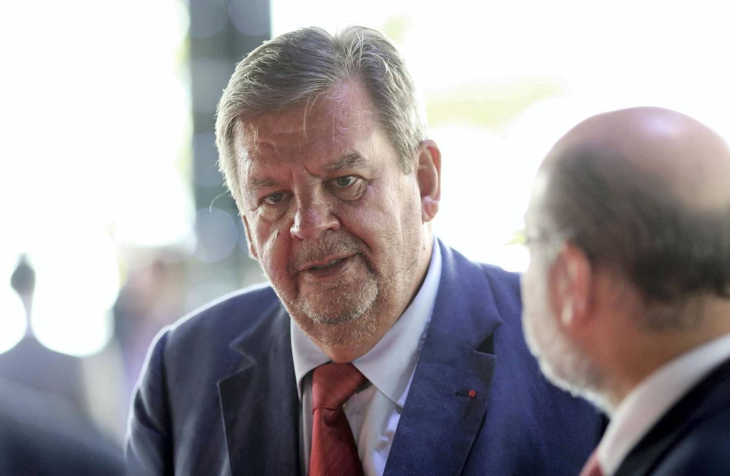 Billlionaire Johann Rupert, founder and chairman of Cie. Financiere Richemont SA, speaks with delegates during the Business of Luxury summit in Monaco, on Monday, June 8, 2015. The Monaco Business of Luxury summit runs from June 8-9. Photographer: Chris Ratcliffe/Bloomberg *** Local Caption *** Johann Rupert