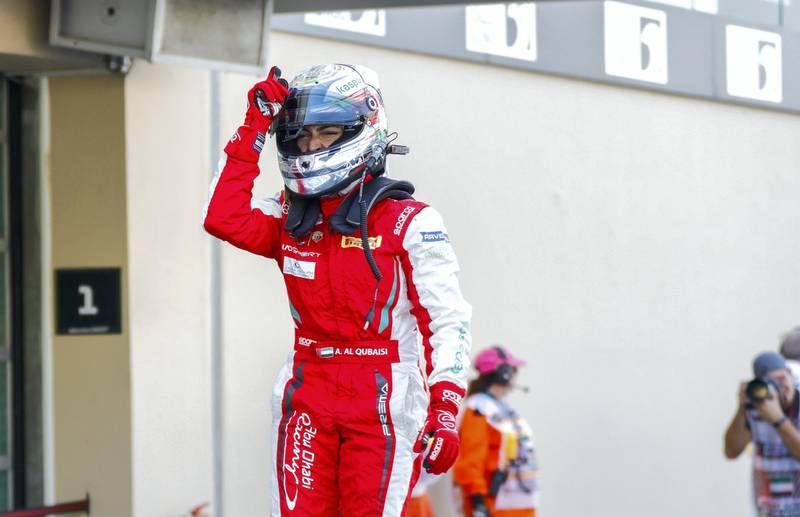 Abu Dhabi, United Arab Emirates, November 30, 2019.  Formula 1 Etihad Airways Abu Dhabi Grand Prix.-- FIA F4 Race 1.  Amna Al Qubaisi in tears of joy after taking the win.Victor Besa / The NationalSection:  SPReporter:  Simon Wilgress-Pipe