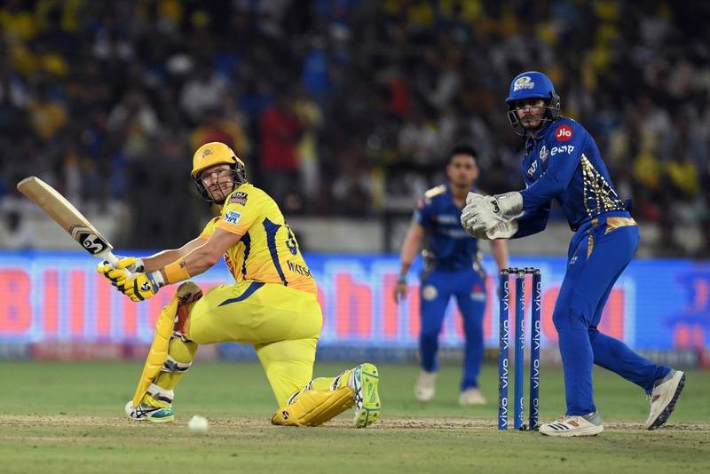 Chennai Super Kings cricketer Shane Watson (L) plays a shot during the 2019 Indian Premier League (IPL) Twenty20 final cricket match between Mumbai Indians and Chennai Super Kings at the Rajiv Gandhi International Cricket Stadium in Hyderabad on May 12, 2019. (Photo by NOAH SEELAM / AFP) / ----IMAGE RESTRICTED TO EDITORIAL USE - STRICTLY NO COMMERCIAL USE-----
