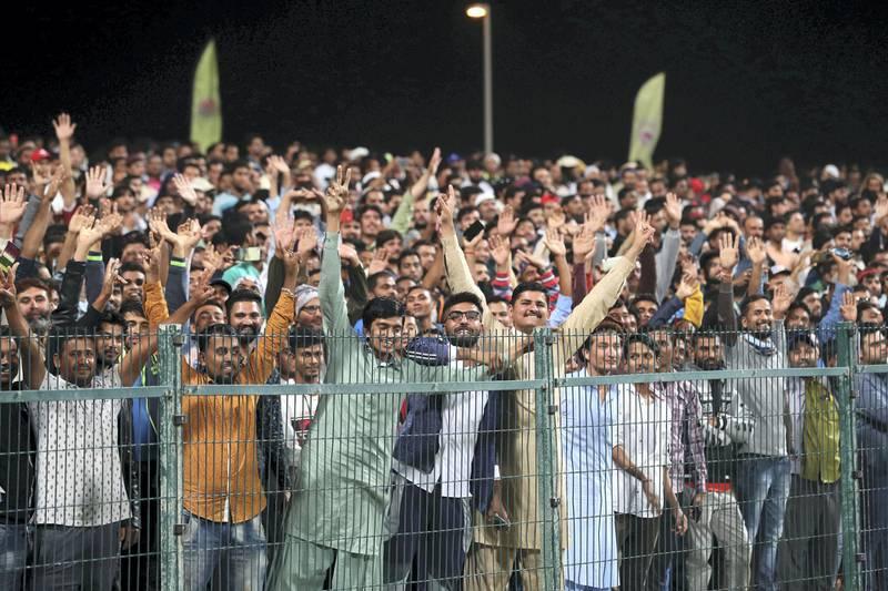 Abu Dhabi, United Arab Emirates - November 24, 2019: Fans during the final between the Deccan Gladiators and the Maratha Arabians in the Abu Dhabi T10 league. Sunday, November 24th, 2017 at Zayed Cricket Stadium, Abu Dhabi. Chris Whiteoak / The National