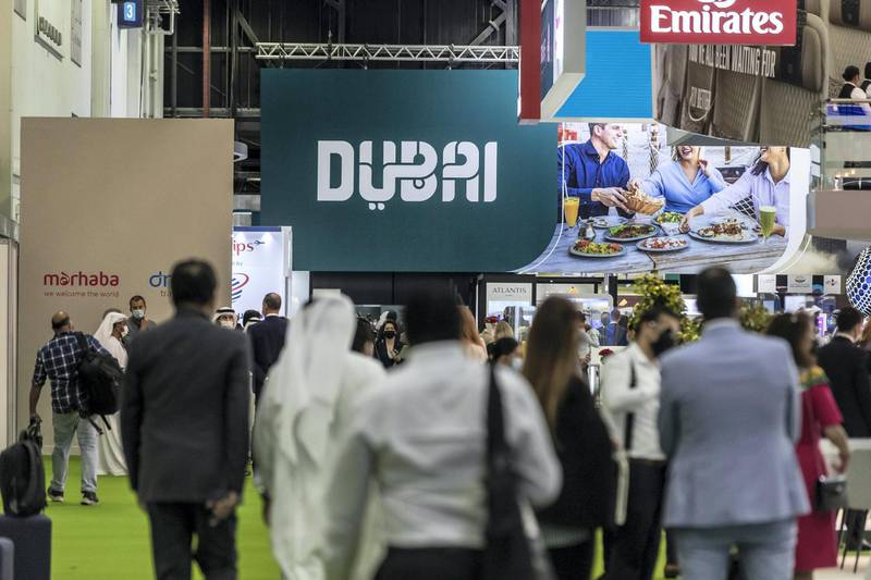 First day of the 2021 Arabian Travel Market exhibition opens at the World Trade Center in Dubai on May 16 th, 2021. General image from the first day.Antonie Robertson / The National.Reporter: None for National.