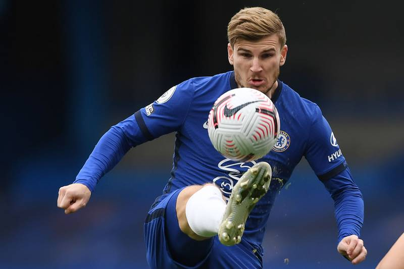 TOPSHOT - Chelsea's German striker Timo Werner eyes the ball during the English Premier League football match between Chelsea and Southampton at Stamford Bridge in London on October 17, 2020. RESTRICTED TO EDITORIAL USE. No use with unauthorized audio, video, data, fixture lists, club/league logos or 'live' services. Online in-match use limited to 120 images. An additional 40 images may be used in extra time. No video emulation. Social media in-match use limited to 120 images. An additional 40 images may be used in extra time. No use in betting publications, games or single club/league/player publications.  / AFP / POOL / Mike Hewitt / RESTRICTED TO EDITORIAL USE. No use with unauthorized audio, video, data, fixture lists, club/league logos or 'live' services. Online in-match use limited to 120 images. An additional 40 images may be used in extra time. No video emulation. Social media in-match use limited to 120 images. An additional 40 images may be used in extra time. No use in betting publications, games or single club/league/player publications.