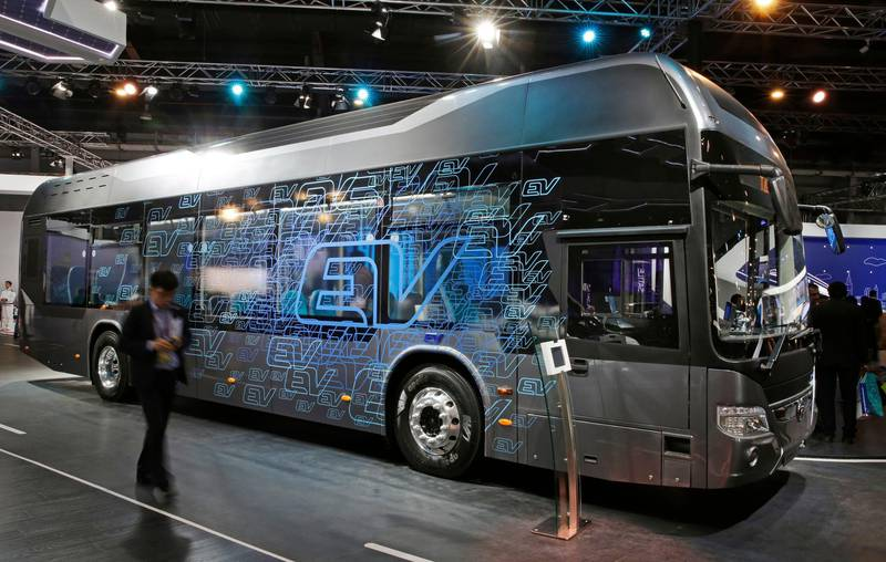 Newly launched Tata's electric bus is displayed at the Auto Expo in Greater Noida, near New Delhi, India, Wednesday, Feb. 7, 2018. The biennial automobile exhibition opens to public Friday and runs till Feb.14. (AP Photo/Altaf Qadri)