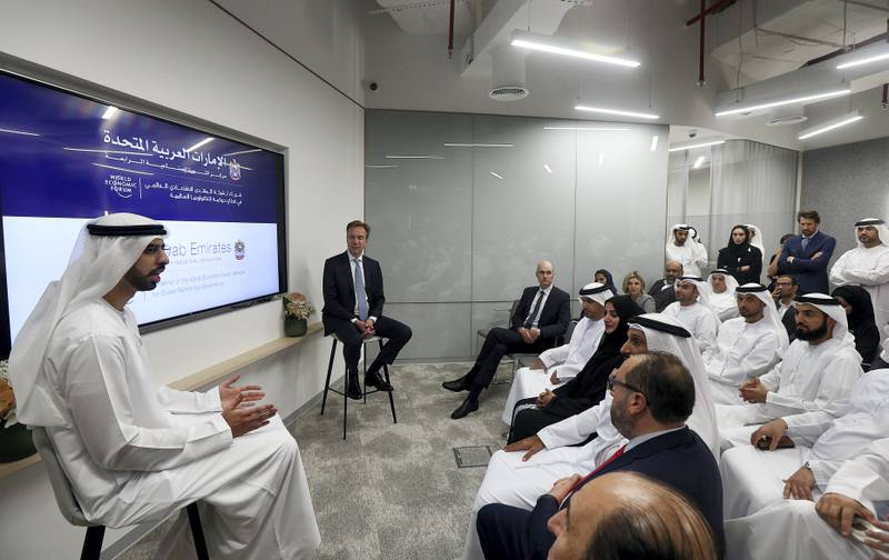Dubai, March, 28, 2019: (L) Omar Sultan Al Olama, Minister of State for Artificial Intelligence and (R) Borge Brende, President, World Economic Forum, attends the media conference at the opening of the Centre for the Fourth Industrial Revolution (4IR) in Dubai. Satish Kumar/ For the National