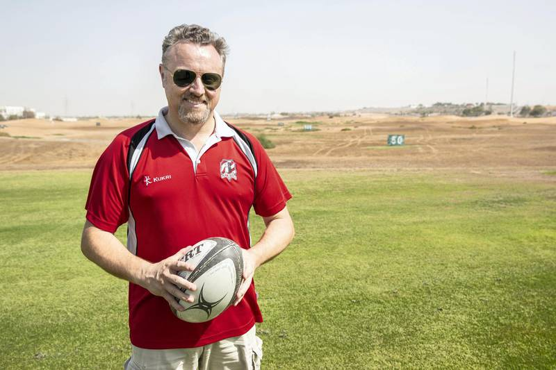 RAS AL KHAIMAH, UNITED ARAB EMIRATES. 23 MAY 2018. Simon Williams, the RAK Rugby Club chairman in front of the proposed are for the new pitch. (Photo: Antonie Robertson/The National) Journalist: Paul Radley. Section: Sport.