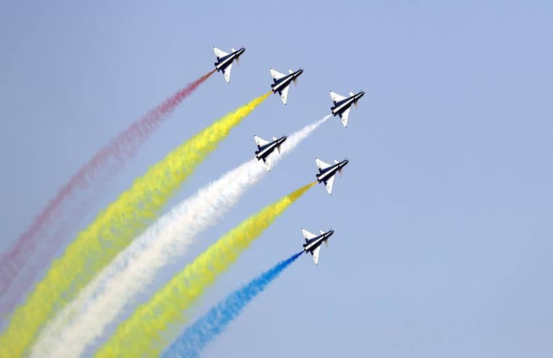 Dubai, United Arab Emirates - November 14th, 2017: August 1st display team at the Dubai airshow. Tuesday, November 14th, 2017 at Al Maktoum Airport, Dubai. Chris Whiteoak / The National