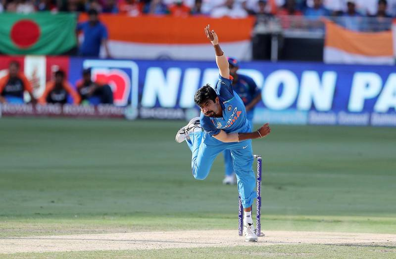 DUBAI , UNITED ARAB EMIRATES, September 28 , 2018 :- Jasprit Bumrah of India bowling during the final of Unimoni Asia Cup UAE 2018 cricket match between Bangladesh vs India held at Dubai International Cricket Stadium in Dubai. ( Pawan Singh / The National )  For News/Sports/Instagram/Big Picture. Story by Paul