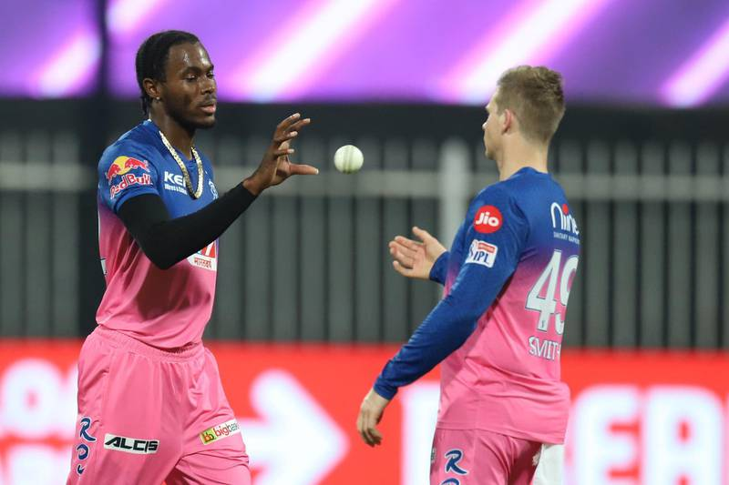 Jofra Archer of Rajasthan Royals during match 9 season 13 of the Dream 11 Indian Premier League (IPL) between Rajasthan Royals and Kings XI Punjab held at the Sharjah Cricket Stadium, Sharjah in the United Arab Emirates on the 27th September 2020. Photo by: Deepak Malik  / Sportzpics for BCCI
