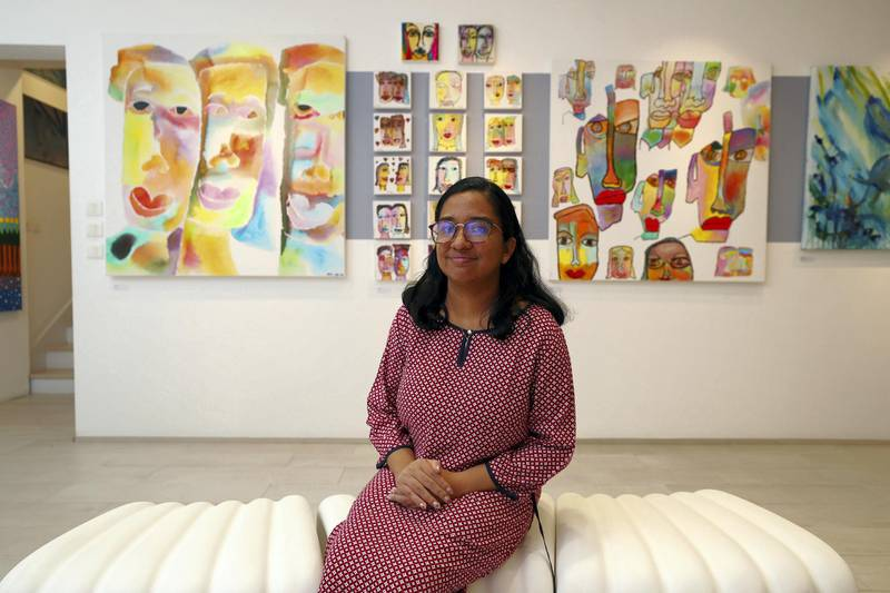 Dubai, United Arab Emirates - November 30, 2020: Twinning by Anjana Krishna. Mawaheb, an art studio for people with disabilities, hosts its final exhibition before it closes. Monday, November 30th, 2020 in Dubai. Chris Whiteoak / The National