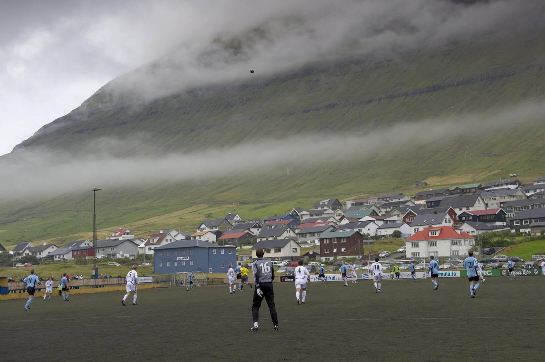 Football match at Nordragota, Eysturoy, Faroe Islands (Faroes), Denmark, Europe