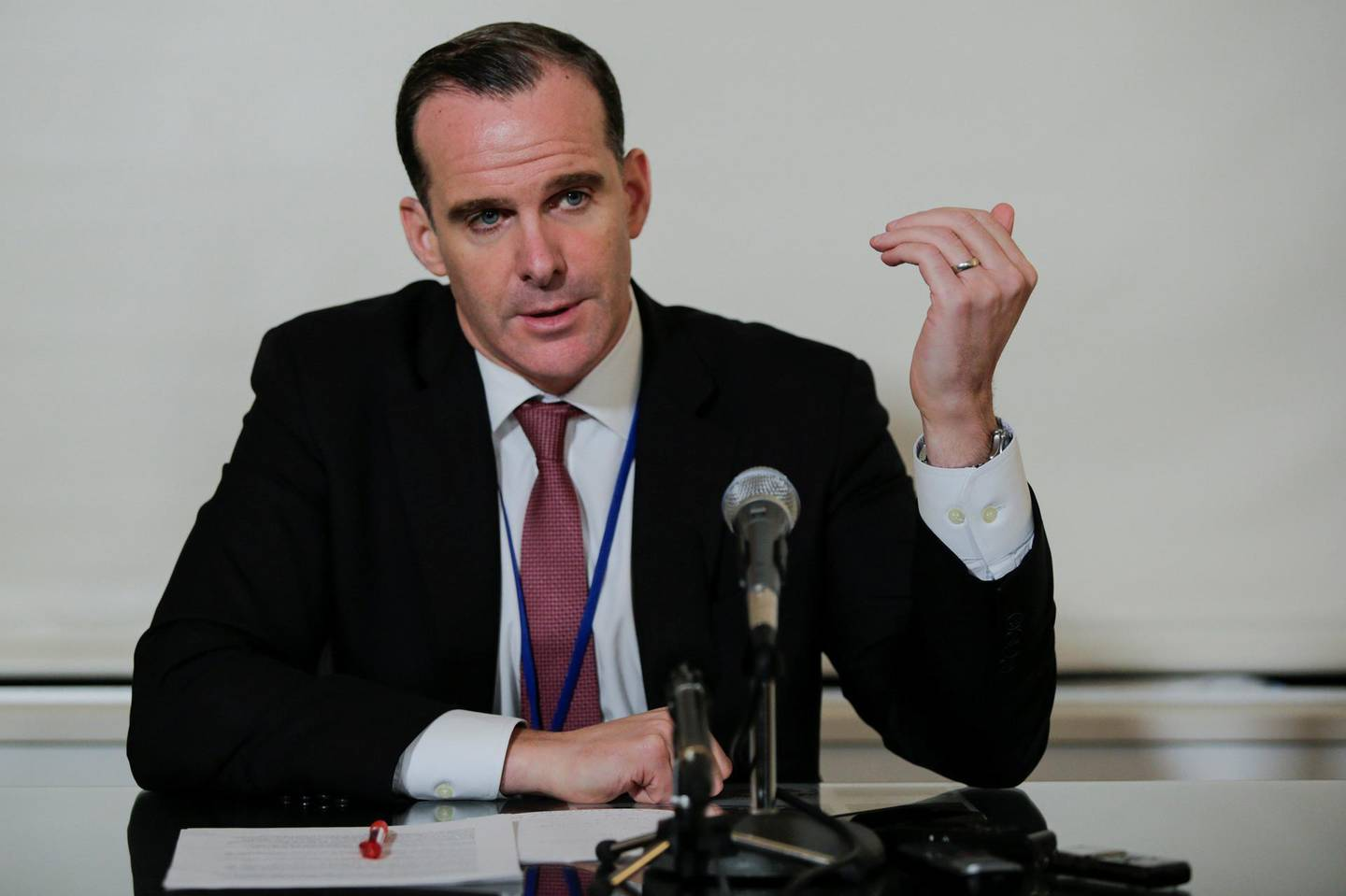 U.S. envoy to the coalition against Islamic State, Brett McGurk, speaks with media during a briefing to Defeat ISIS and an update on the Coalition's efforts during the 72nd United Nations General Assembly in New York, U.S., September 22, 2017. REUTERS/Eduardo Munoz