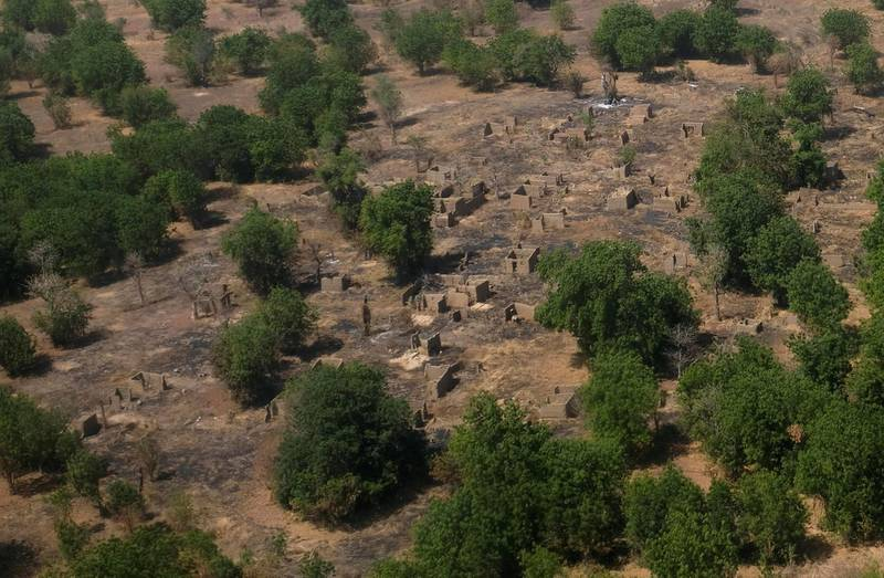 An aerial view of buildings standing on scorched ground that have been destroyed in the conflict with Boko Haram in the Bama region of Borno state, Nigeria November 23, 2017.  Picture taken November 23, 2017.  REUTERS/Paul Carsten