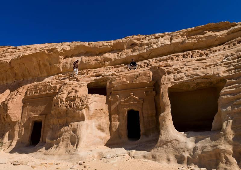 AL-ULA, SAUDI ARABIA - JANUARY 23: Nabataean tomb in madain saleh archaeologic site, Al Madinah Province, Al-Ula, Saudi Arabia on January 23, 2010 in Al-ula, Saudi Arabia. (Photo by Eric Lafforgue/Art In All Of Us/Corbis via Getty Images)
