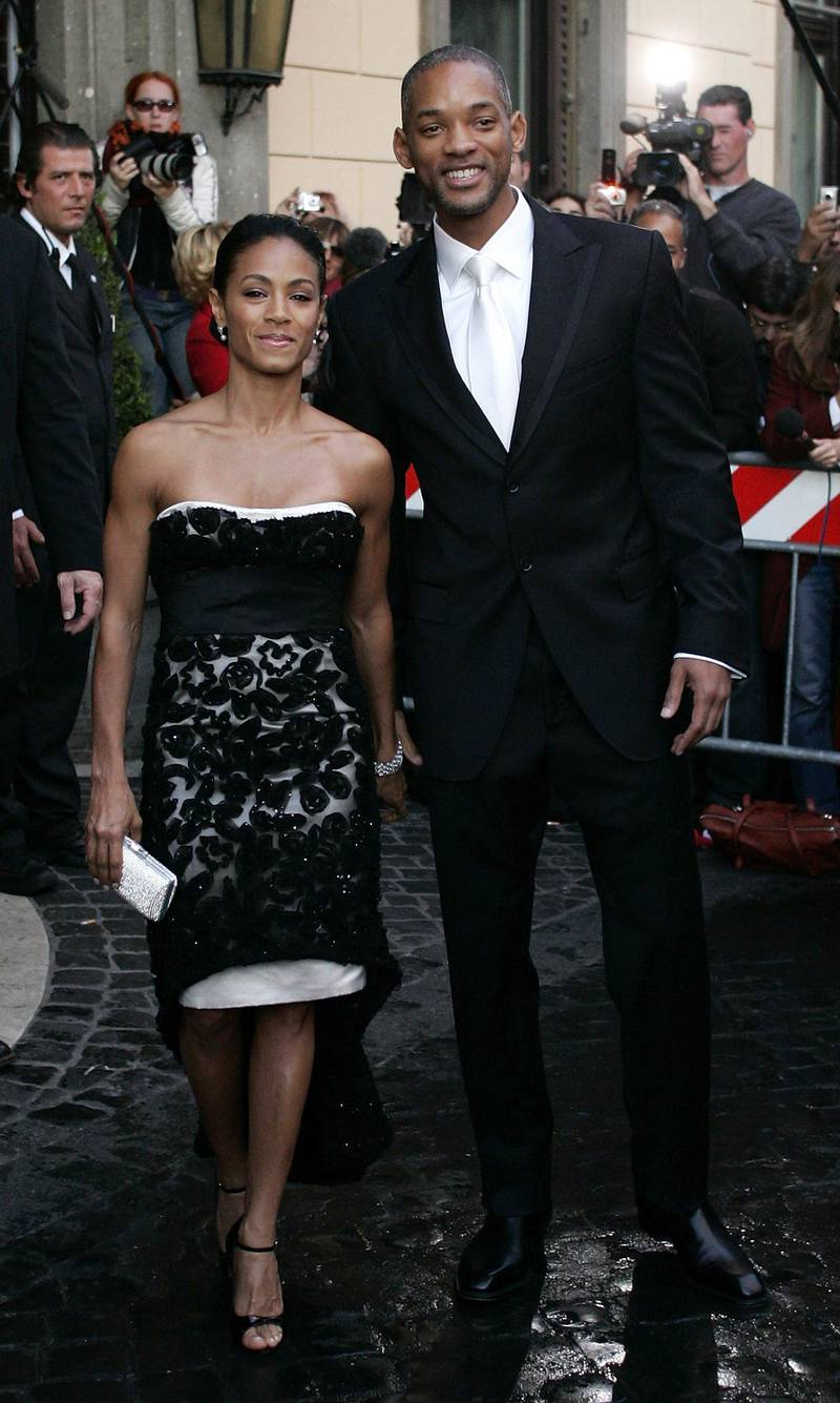 ROME - NOVEMBER 18:  Actors Will Smith and wife Jada Pinkett Smith leave the Hassler Hotel prior to the wedding of actors Katie Holmes and Tom Cruise at Castello Odescalchi on November 18, 2006 in Rome, Italy.  (Photo Salvatore Laporta/Getty Images)