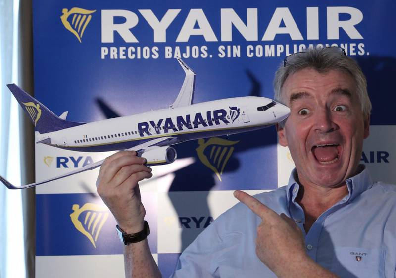 epa06159472 Irish low cost airline Ryanair's CEO, Michael O'Leary, as he addresses a press conference in Madrid, Spain, 24 August 2017. O'Leary announced that the company was not affected by terrorist attacks committed in Barcelona and Cambrils several days ago as the prices were 'automatically' reduced. He added that the fares lowered between five - seven percent in its fights to Barcelona after terrorist attacks, causing 15 deaths and more than one hundred other injured.  EPA/Chema Moya