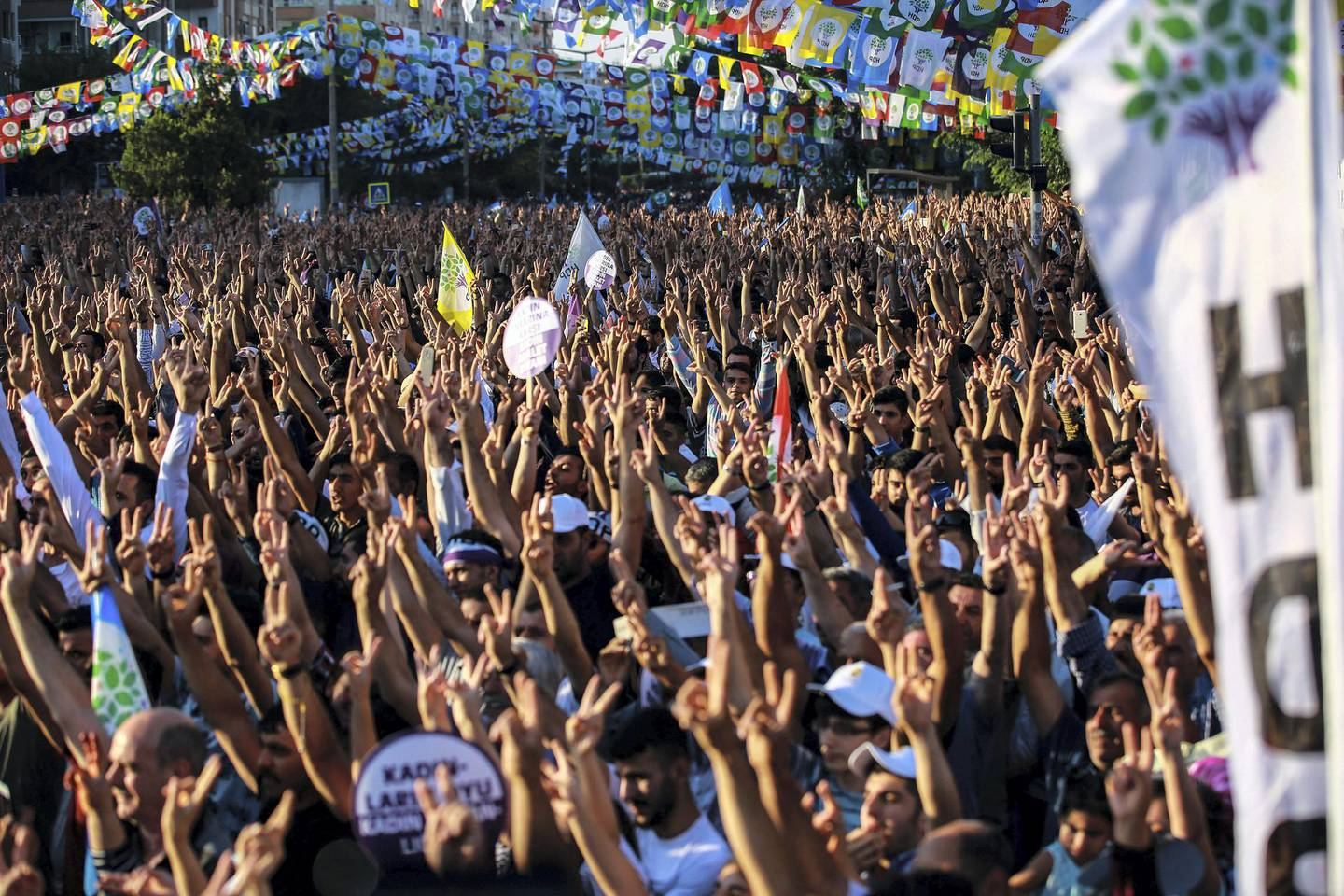 Supporters of imprisoned Selahattin Demirtas, presidential candidate of the pro-Kurdish People's Democratic Party (HDP), react during an election campaign rally in Diyarbakir on June 20, 2018. - The Turkish President announced on April 18, 2018 that Turkey will hold snap elections on June 24, 2018. (Photo by - / AFP)