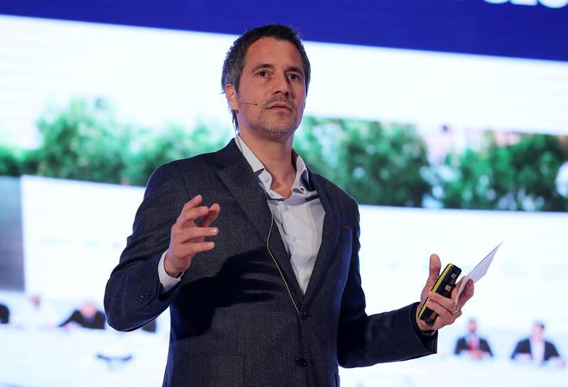 DUBA , UNITED ARAB EMIRATES , NOV 1   – 2017  :- Dany Farha , CEO & Managing Partner , BECO speaking during the Boost MENA conference held at the FIVE Palm Jumeirah Dubai hotel on Palm Jumeirah in Dubai. (Pawan Singh / The National) Story by Sarah Townsend