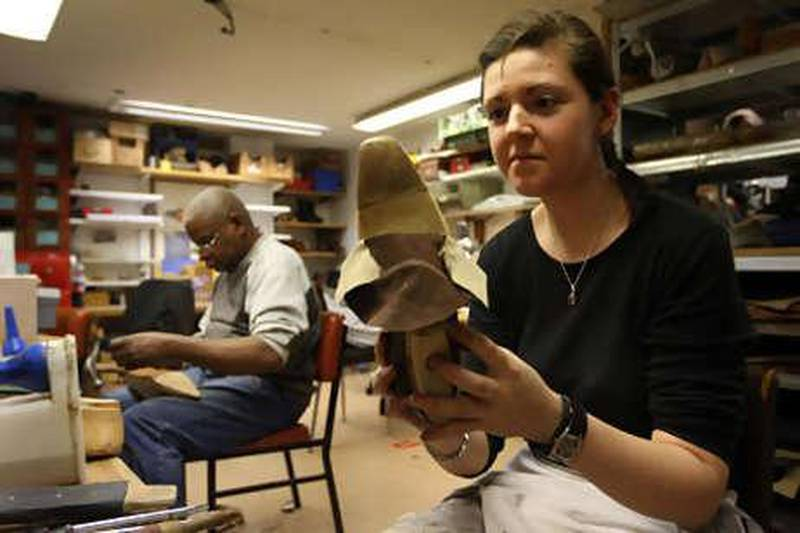 PARIS. 10th March 2010. MASSARO SHOES. Marylene Buisson at work in the atelier of Massaro shoe makers in Paris.   Stephen Lock   /  The National   FOR ARTS & LIFE